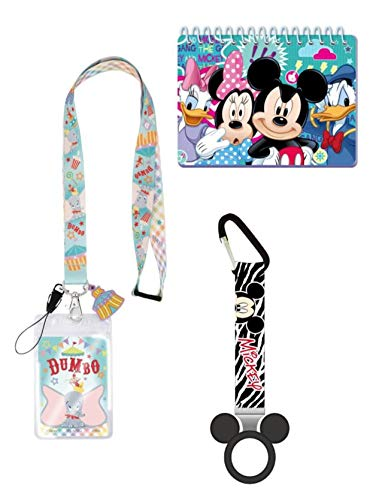 Magical Memories Collection Disney Autograph Book, Lanyard, and Bottle Holder Bundle- Dumbo Trip Vacation Cruise Accessory for ID and Pin Trading