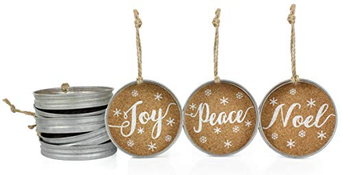 - Auldhome Mason Jar Lid Christmas Ornaments, Farmhouse Decor (Set of 6), Rustic Galvanized Hanging Decorations with Peace, Joy, and Noel