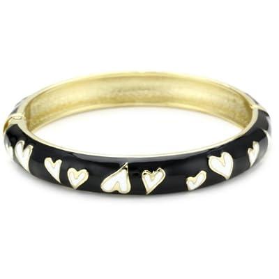 hot Betsey Johnson Black and White Heart Bangle Bracelet on sale