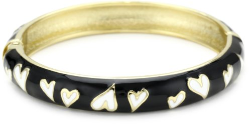 Betsey Johnson Heart Bracelet (Betsey Johnson Black and White Heart Bangle Bracelet)