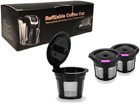 Reusable Okay Cups 3 Pack Black & Purple For Keurig 2.0 & 1.0 Brewers Universal Fit For Refillable Single Cup Coffee Filters - Eco Friendly Stainless Steel Mesh Filter BPA Free through A&N Direct