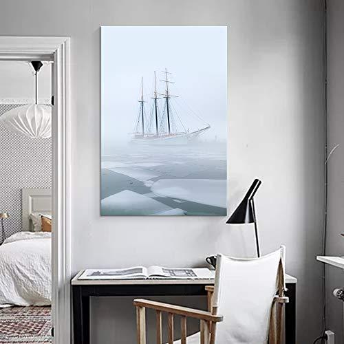 Sailboat Sailing on Floating Ice Sea