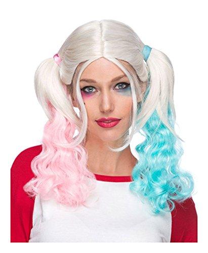 Largemouth Pigtail Wig Blonde Pink Blue -