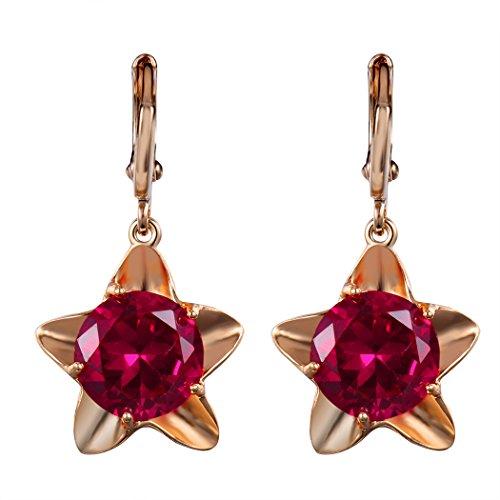 Real Spark(TM) Women Girls 18K Gold Plated Red Rhinestone Star Drop Leverback (Kwiat Star Earrings)