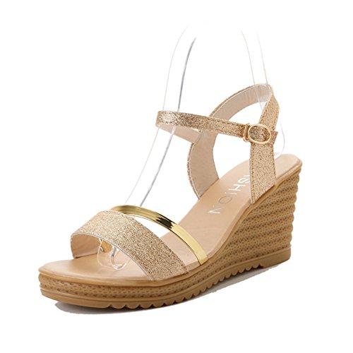 Keil Sandalen,Koreanische Version Eines Wortes Schnalle Mit Sandalen,Flat-bottomed Beach Schuhe A