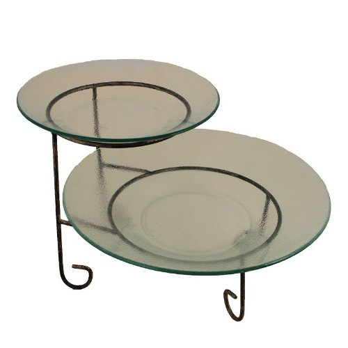 Essential Décor Entrada Collection 2-Piece Round Glass Plate with Metal Stand