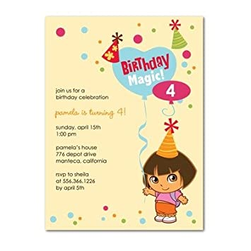 Image Unavailable. Image not available for. Color: Birthday Party Invitations - Dora The Explorer: ...
