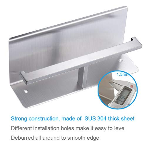 Double Toilet Paper Holder with Shelf, APL Bathroom Accessories SUS 304 Stainless Steel Tissue Roll Holder with Mobile Phone Storage Rack Handy Use Brushed Nickel