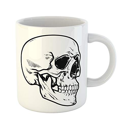 Emvency Coffee Tea Mug Gift 11 Ounces Funny Ceramic Line Skull Collection of Hard Core Anatomic Anatomy Gifts For Family Friends Coworkers Boss Mug ()