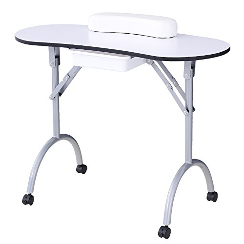 Murtisol Portable Nail Table Foldable Manicure Table Reinforced Spa Station Beauty Salon Desk With...