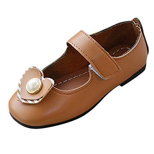 Axinke Hook and Loop Pearls Casual Shoes Princess Shoes for Toddlers/Little Girls