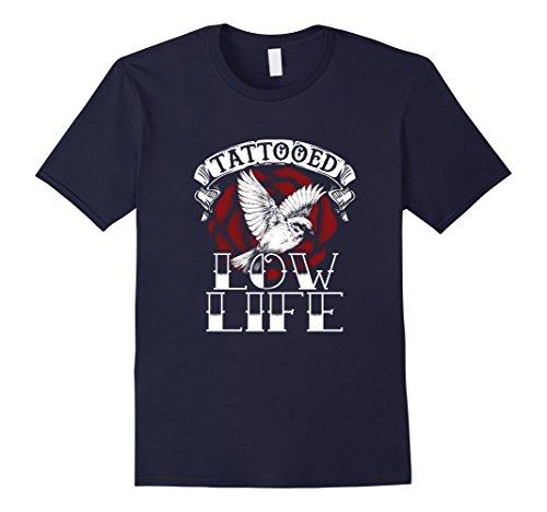 Men's Tattooed Low Life T-Shirt XL Navy