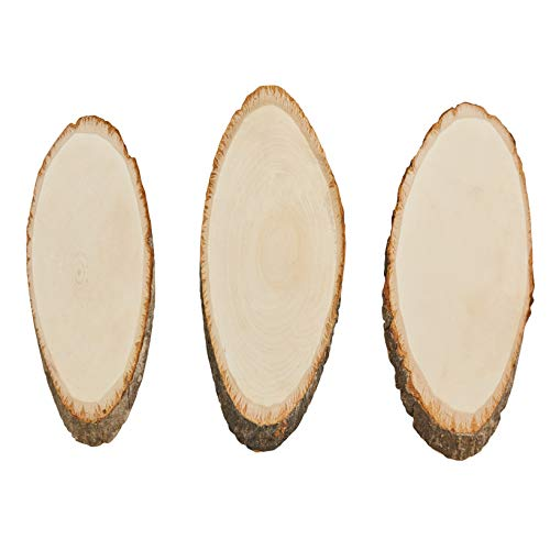 Unfinished Wood Plaque - 3-Pack Oval Wood Slices, Wooden Plaque, Rustic Signs, Natural Signboards, for Home Display, Award Recognition, DIY Projects, Wedding Decor, Basswood, 12.5 x 5 x 0.5 inches