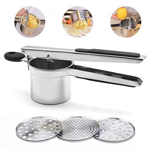Potato Ricer Set with 3 Ricing Discs Premium Stainless Steel Fruit and Vegetable Masher for All Types of Potatoes Lump Free Potatoes, Easy to Use and Clean