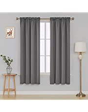 Deconovo Super Soft Thermal Insulated Rod Pocket Blackout Curtains Two Panels UK