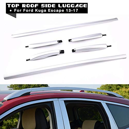 - MotorFansClub Top Roof Cargo Carrier Luggage Rack Silver Alloy Rack Side Rail for Ford Kuga Escape 2013-2018 US Stock