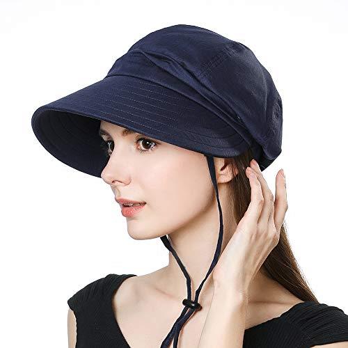 Ladies Summer Sun Hat Packable Visor UV Protection Wide Brim Travel Beach Garden Hat Stylish Navy SiggiHat