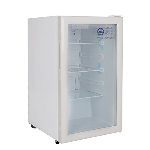 120 Liter Glass Display Showcase 1-Door Beer Soda Beverages Free Standing Upright Cooler Commercial Refrigerator Merchandise 4.2 cu. ft. Cabinet Compact Mini Home Apartment Size Fridge