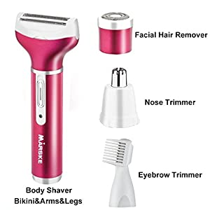 Hair Removal for Women 4 in 1 Rechargeable Hair Epilator Painless Electric Cordless Body Hair Shaver,Hair Trimmer Waterproof Razor for Bikini Area /Nose/ Armpit / Arm / Leg (2018 Upgraded)