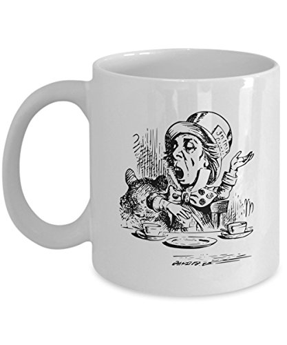 Classic Hand-drawn Sketch Of Mad Hatter Coffee Mug, White, 11 oz - Unique Gifts By huMUGous