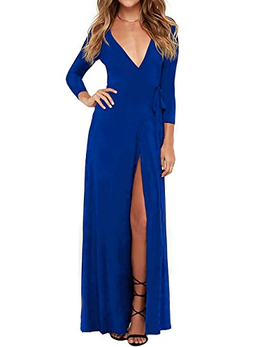 Ellies Womens v-Neck Solid Three-Quarter-Sleeve Long Maxi Dress, Blue, Small at Amazon Womens Clothing store: