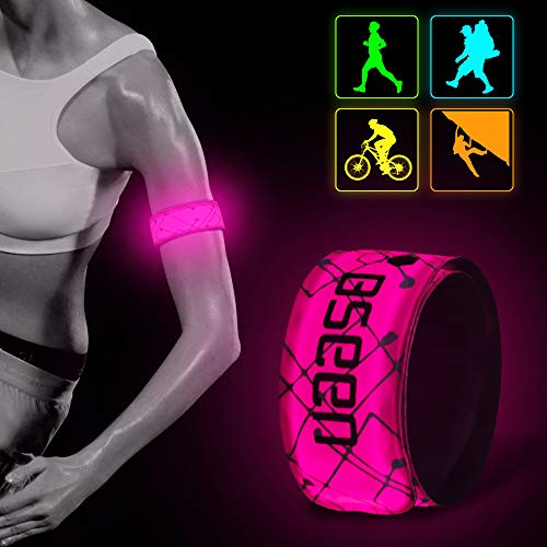 BSEEN LED Armband 2 Pack LED Slap Bracelets, Adjustable Strap Safety Light Armbands Glow in The Dark Night Running Gear for Walking, Cycling, Camping Outdoor Sports (Pink-DesignⅠ)]()