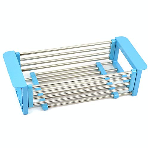Dish Drying Rack Stainless Steel Telescopic Sink Drain Rack Washing Basket Single Layer Kitchen Drain Storage Rack Durable (Color : Blue)