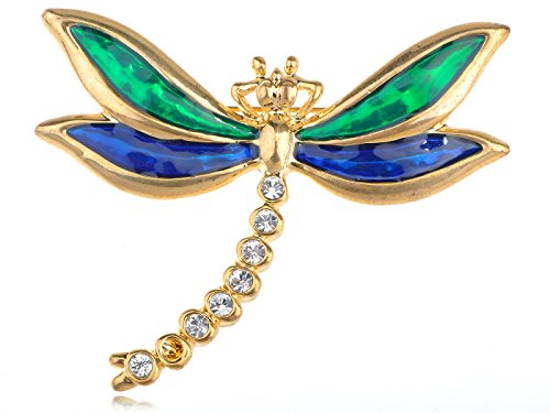Alilang Golden Tone Clear Rhinestones Green Blue Dragonfly Insect Brooch Pin ()