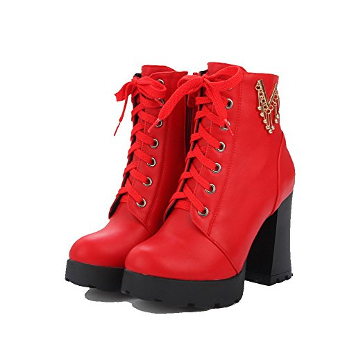 Red Solid Women's Toe Closed PU High Boots Allhqfashion Zipper Round Heels 7FqPWv