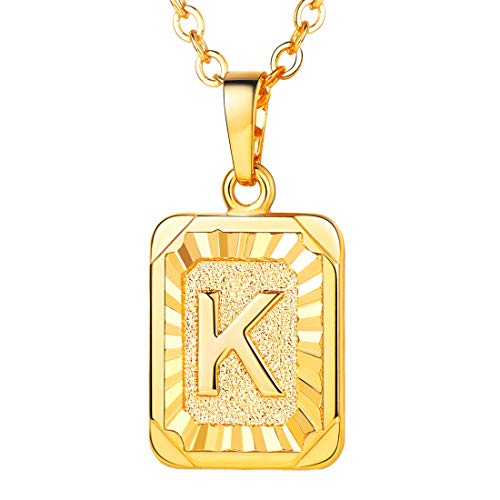 U7 A-Z 26 Letters Pendant Men Womens Fashion Jewelry 18K Gold Plated Square Pendants Capital Initial Necklace (K)