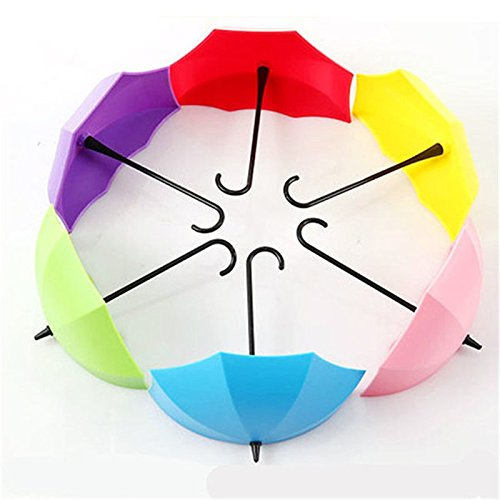 New 2017 Colorful Creative Umbrella Shape Decorative Wall Hooks Wall Mounted Storage Rack Hook Hanger - Wetsuits 2017 Best