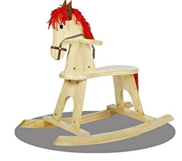 Kids Rocking Horse Durable Wooden Pony Chair Baby Child Security Ride On  Toys
