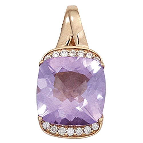 JOBO pendentif en or rose 585 1 améthyste violet brillant 14 diamants 0,05 carat