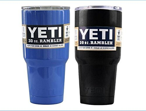 Yeti Rambler Tumbler Cups with Lids, 30 oz, Set of 2-Blue+Black by Yeti Cooler