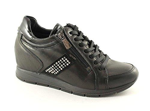 IGI&Co 48107 Schwarze Schuhe Frau Sport Sneaker Keilinnentasche mit Reißverschluss Nero