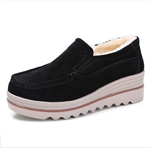 Algodón Mocasines Plataforma Zapatos De Cintura Terciopelo Baja Comodidad Cálido Vaca Y Cuña Liangxie Piel Con Mujer Ancha Negro Ante E74dng0qxw