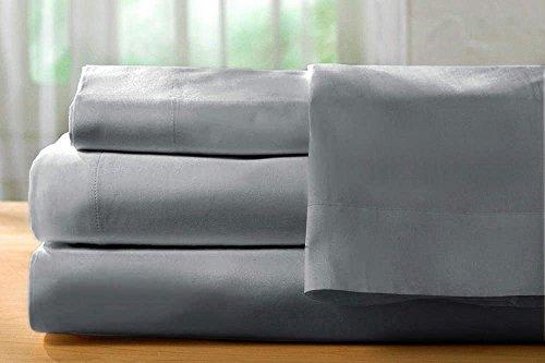"Ultra Cozy 100% Plush Organic Cotton 1000 TC Sheet Set, Lavish Italian Solid fits mattresses up to 19"" deep Pattern - Solid, Color - Silver Grey, Size - King."