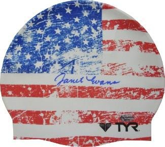 Janet Evans signed Olympic Team USA Swimming American Flag TYR Swim Cap (4 Gold Medals) - Autographed Olympic Caps and Hats