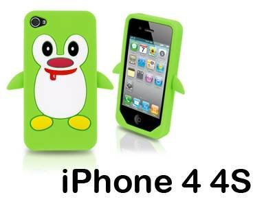 iXium 3D mignon pingouin jouet animal Skin Coque de protection en gel silicone souple pour Apple iPhone 4/4S Vert