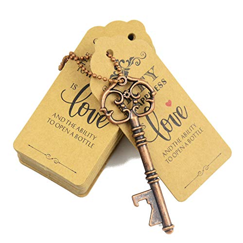 Aokbean 52pcs Vintage Skeleton Key Bottle Opener Party Favor Wedding Favor Guest Souvenir Gift Set with Escort Thank You Tag Card and Keychain(Antique Copper)]()