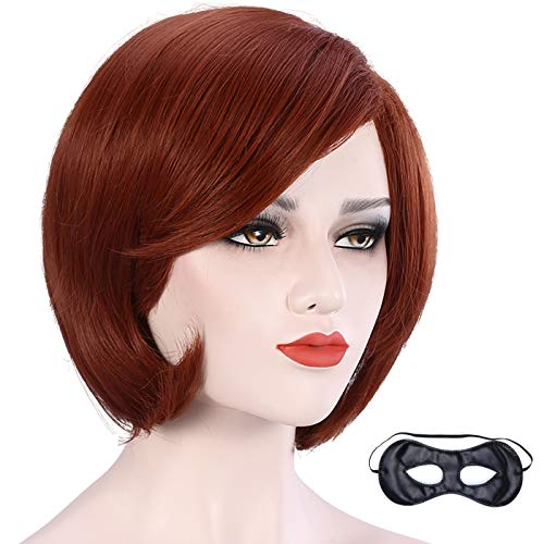 CAMTOP Women Short Bob Hair Wig Anime Costume Halloween Cosplay Party Wig with Eye Mask and Wig Cap, Reddish Brown