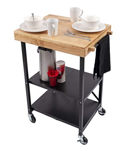 Collapsible Kitchen Cart | Kitchen Island with Towel Bar - A Portable, Useful Kitchen Trolley That Breaks Down for Easy Storage (24