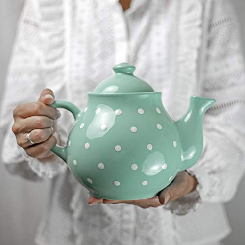City to Cottage Handmade Teal Blue and White Polka Dot Large Ceramic 1,7l/60oz/4-6 Cup Teapot with Handle and Lid, Unique Pottery Housewarming Gift for Tea Lovers