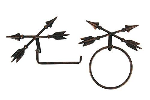 Hanging Toilet Tissue Holder (De Leon Metal Toilet Paper Holders Antique Copper Crossed Arrows Hanging Toilet Paper Holder and Towel Ring Set 10.75 X 11.75 X 2 Inches Copper)