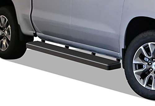 APS iBoard Running Boards (Nerf Bars | Side Steps | Step Bars) for 2019-2020 Chevy Silverado GMC Sierra 1500 Crew Cab | (Black Powder Coated 6 inches)