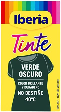 Iberia - Tinte Verde Oscuro para ropa, 40°C