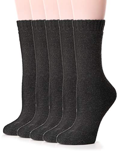 Womens Wool Socks Thermal Heavy Thick Soft Warm Fuzzy Work Winter Socks 5 Pack (Grey)