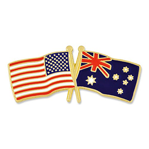 PinMart's USA and Australia Crossed Friendship Flag Enamel Lapel Pin on sale