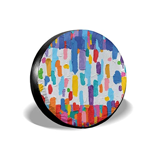- GULTMEE Tire Cover Tire Cover Wheel Covers,Hand Made Colorful Abstract Painting Contrasting Colors French Flag Pattern Brush Mark,for SUV Truck Camper Travel Trailer Accessories(14,15,16,17 Inch) 14