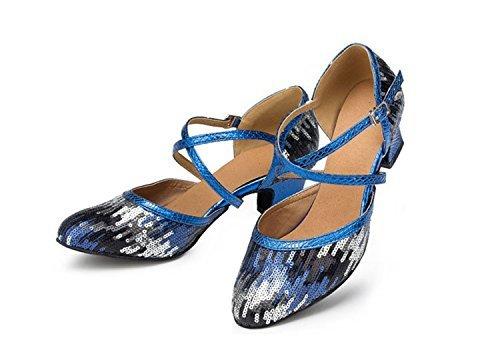 Wedding Pleather Cross Black Taogo Dance Sequin Pumps Blue Ballroom Strap TH135 Latin Shoes Womens Minishion Heel 5cm qgwY4X